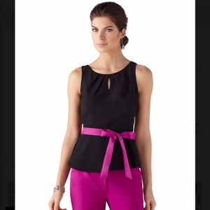 White House Black Market belted peplum top NWT